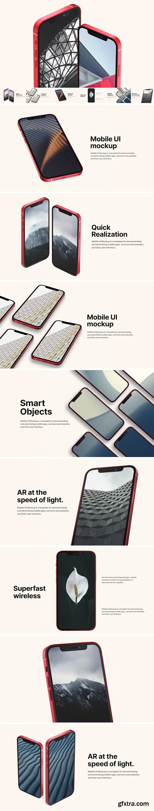 Red Iphone Mockups