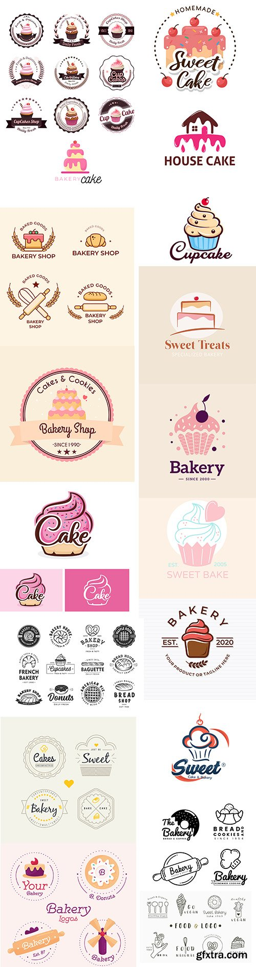 Bakery cake logo template collection