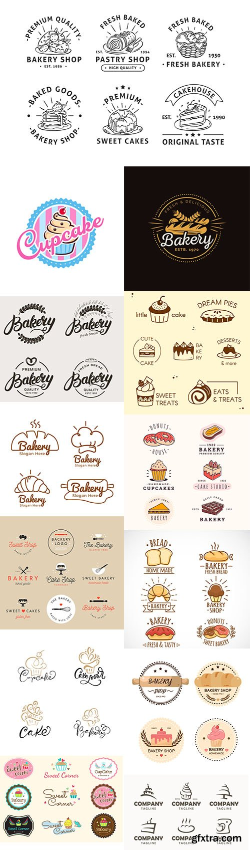 Bakery cake logo template collection vol 3