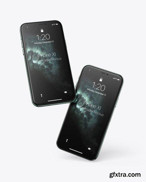 Two Apple iPhones 11 Pro Mockup 69950