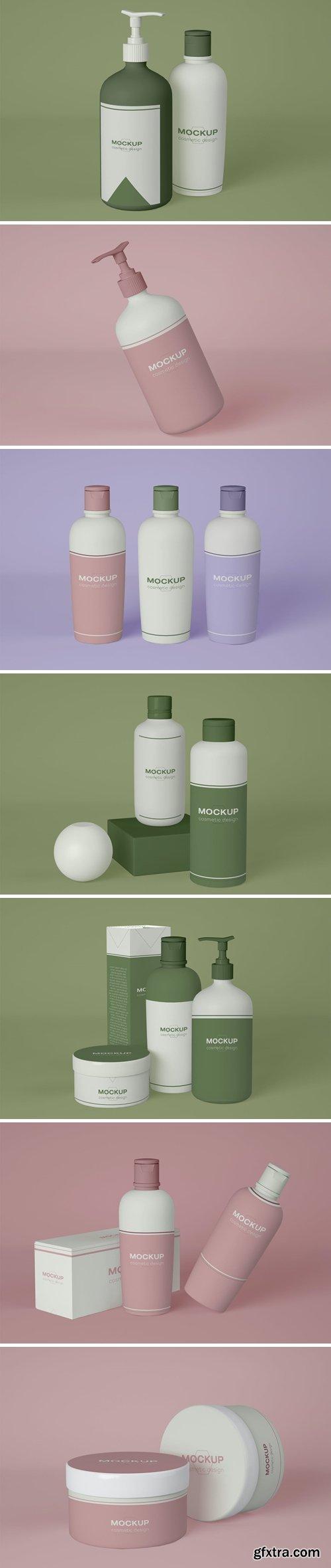 Cosmetics and Cosmetics Dispenser Mockup