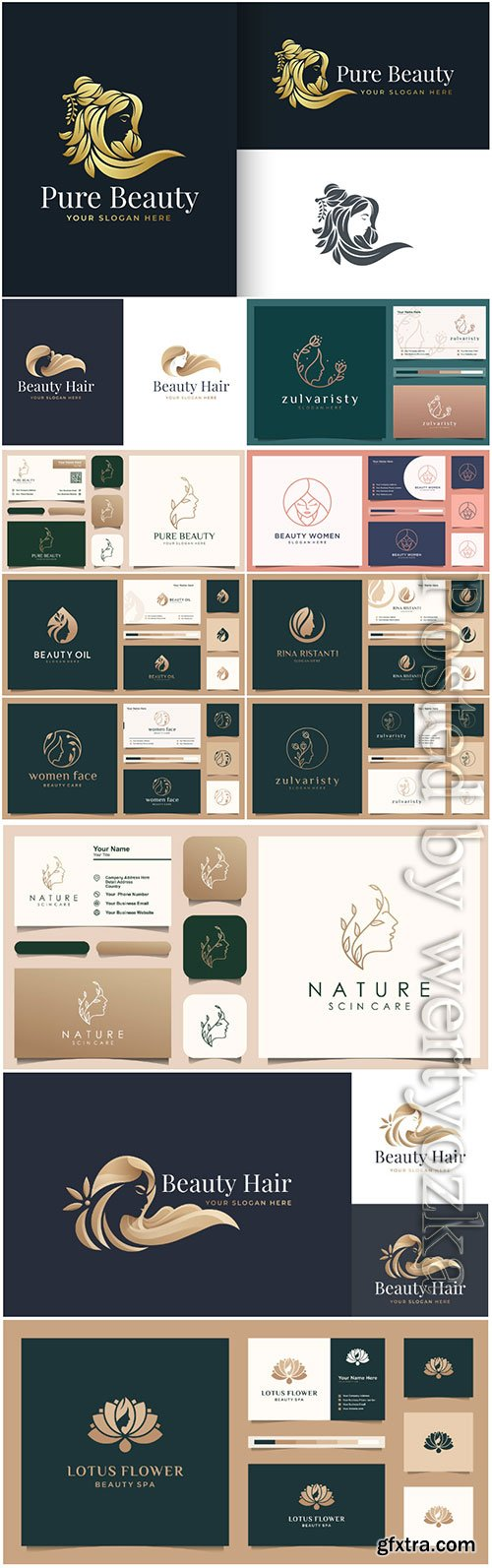 Luxury beauty woman hair salon gold gradient logo design