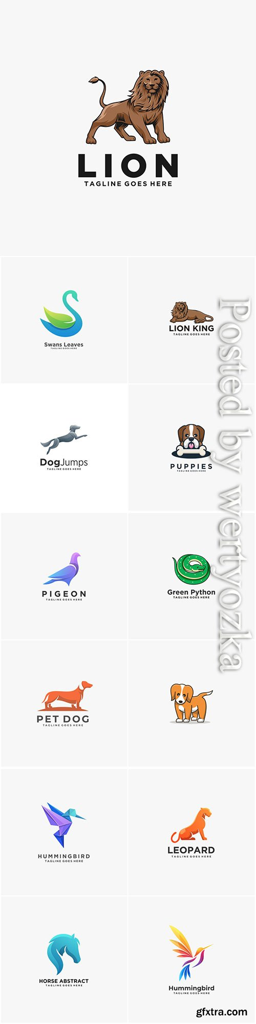 Animals and birds logos in vector vol 6