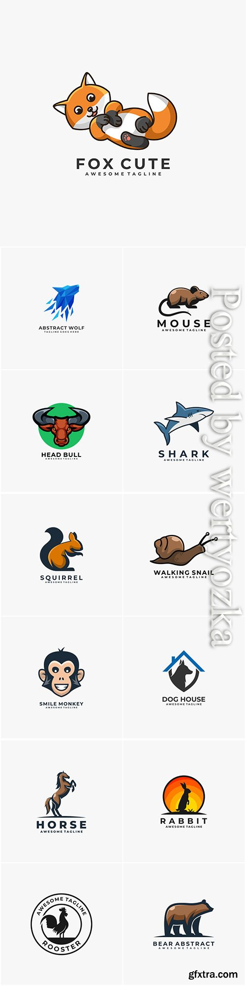 Animals and birds logos in vector vol 3