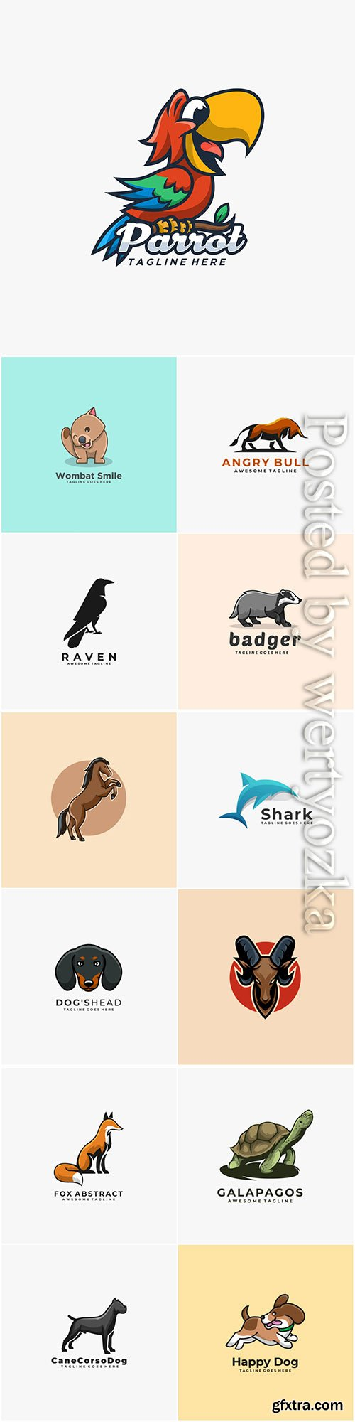 Animals and birds logos in vector vol 4