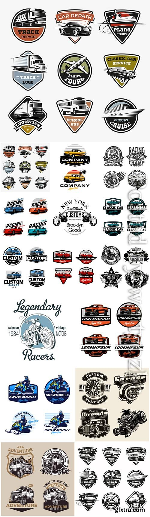 Transport logos set vector