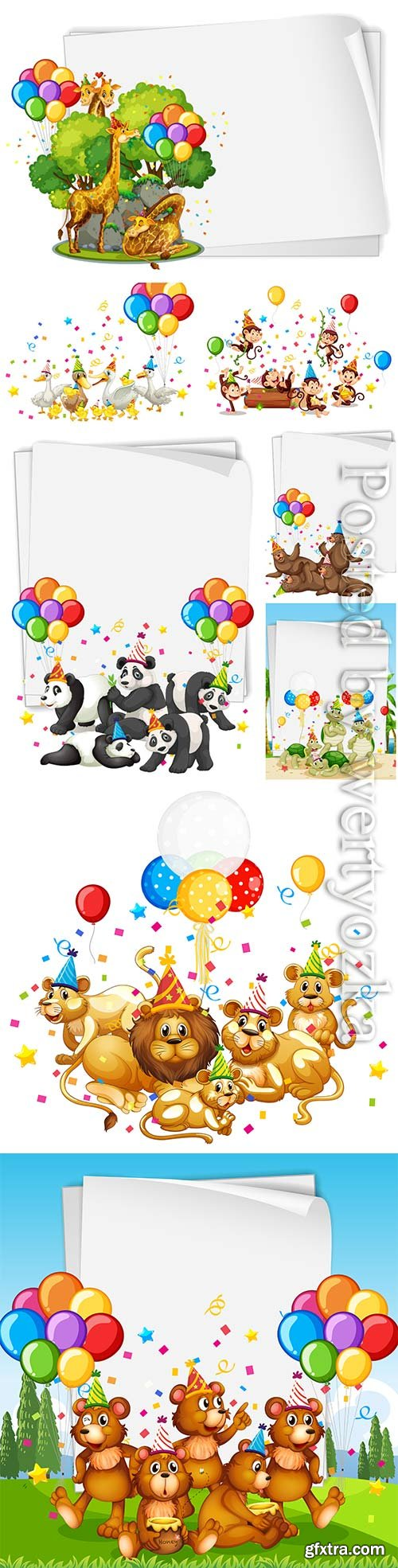 Cute animals in party theme premium vector