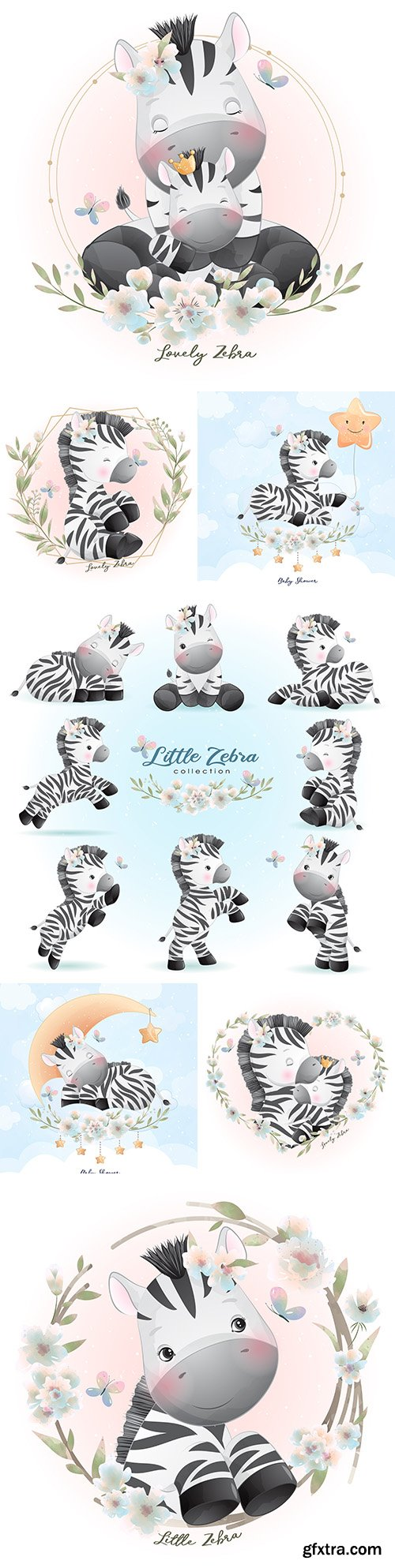 Pretty zebra painted with flowers illustrations