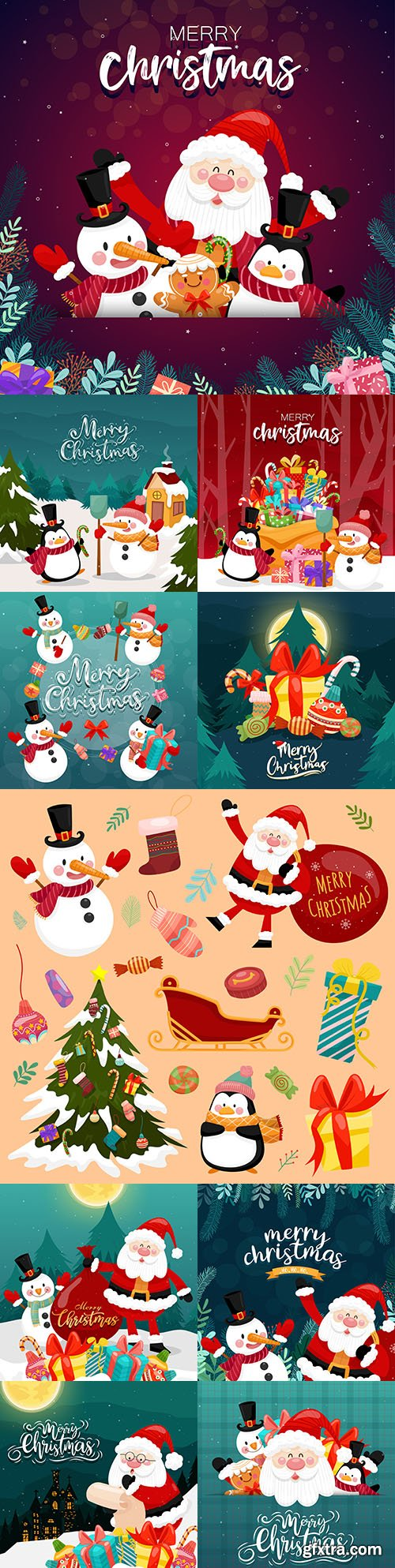 Merry Christmas card with Santa Claus and gift box