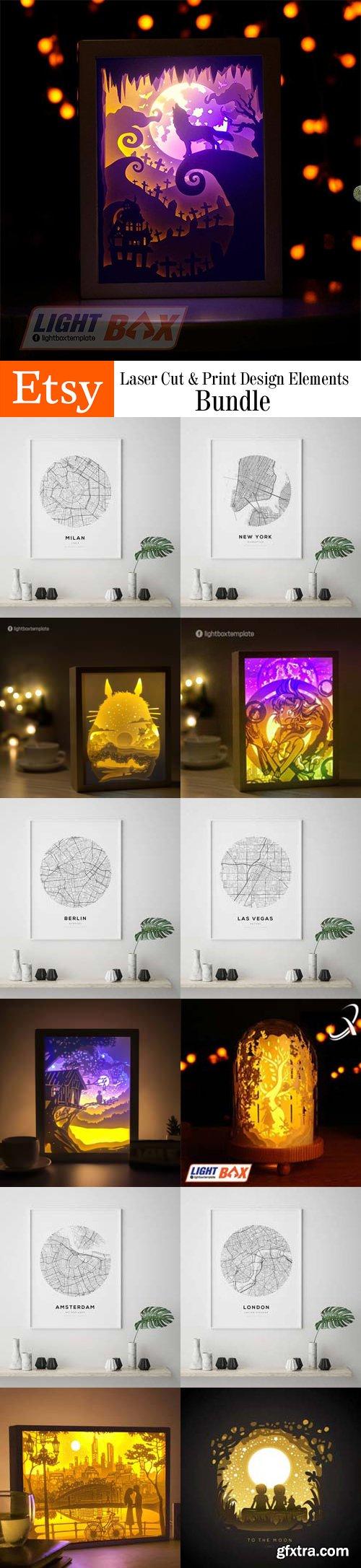 Laser Cut & Print Design Elements Bundle - ETSY