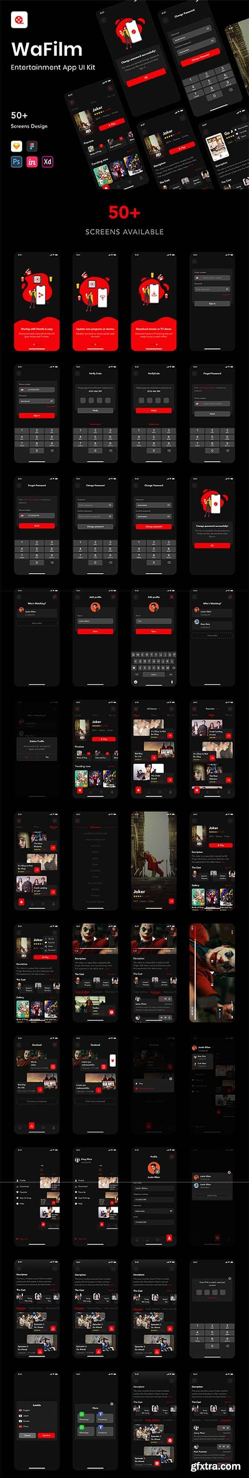 WaFilm - Entertainment App UI Kit