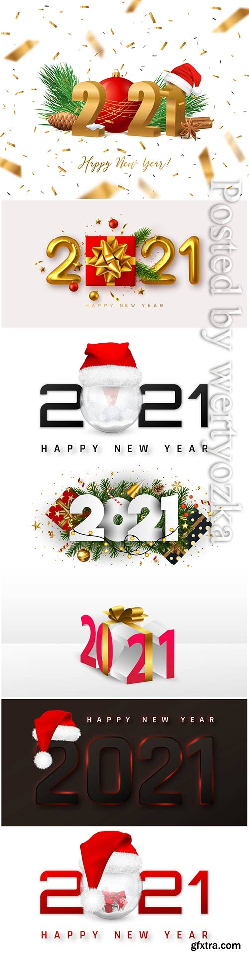 Happy new year 2021 cover with snowball in santa hat in vector