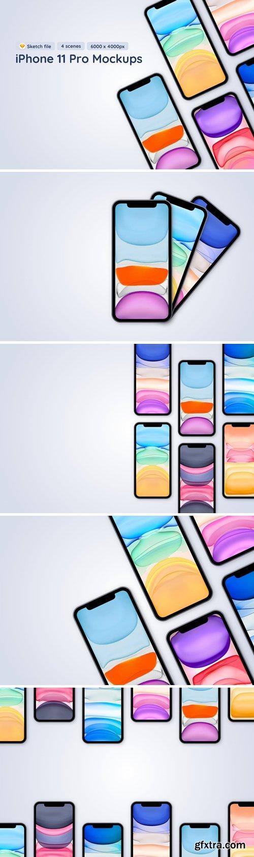 iPhone 12 Pro - Sketch Mockup - 4 different scenes