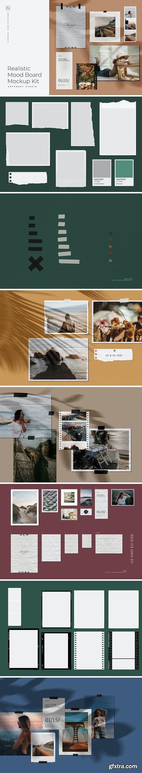 CreativeMarket - Realistic Moodboard Mockup Kit 5617960