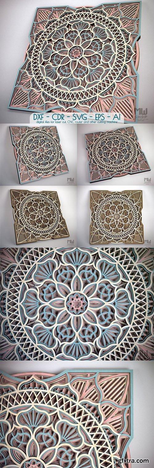 Mandala DXF/SVG Pattern Laser Cut - Flower & Circular Mandala Pattern