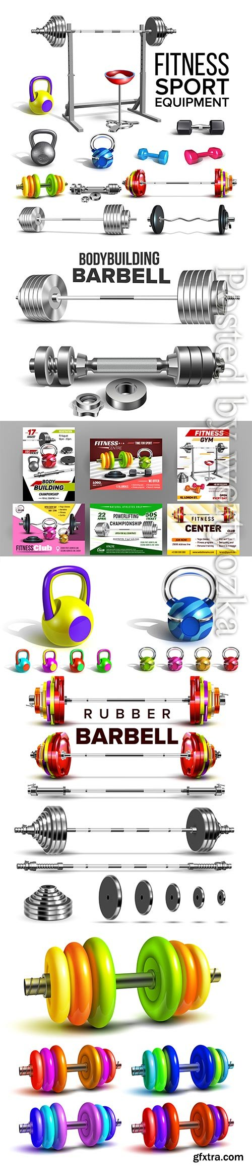 Fitness club sport advertise vector set