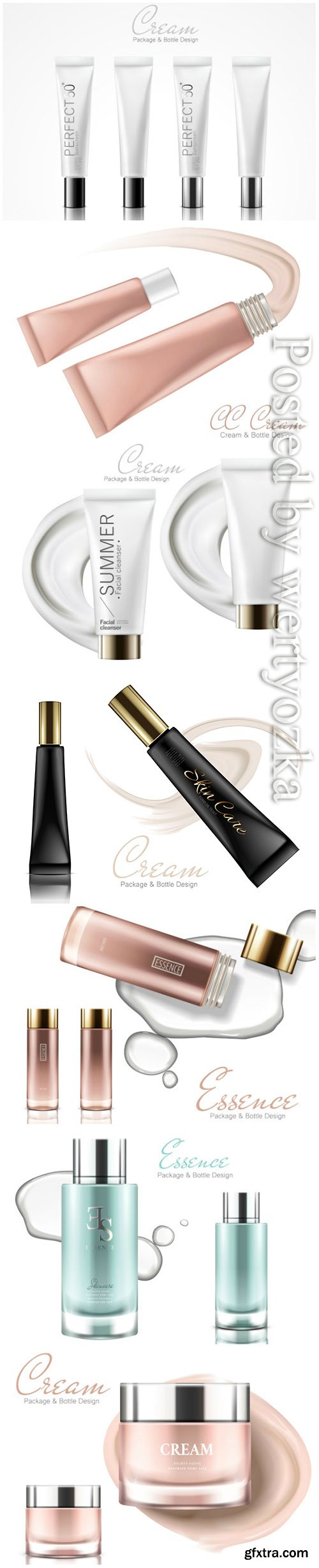 Realistic package cosmetic vector design