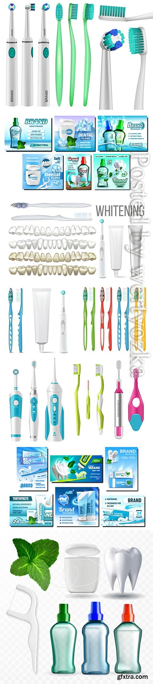 Dental floss promotional, toothpaste advertising vector set
