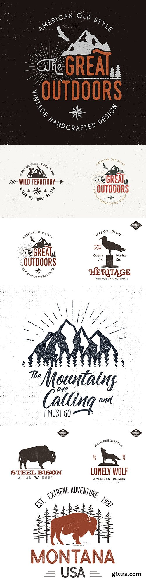Vintage outdoor label and retro logo illustration