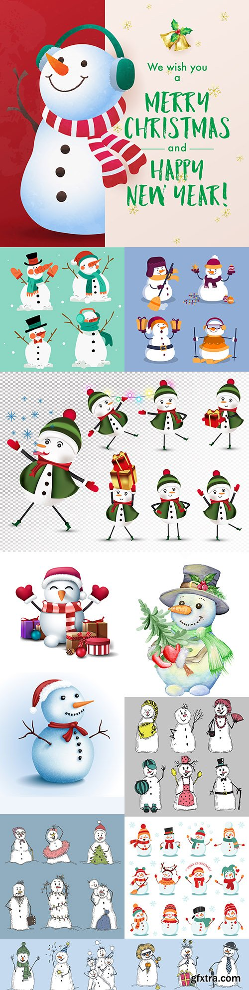Cheerful snowmen in different costumes Christmas illustrations