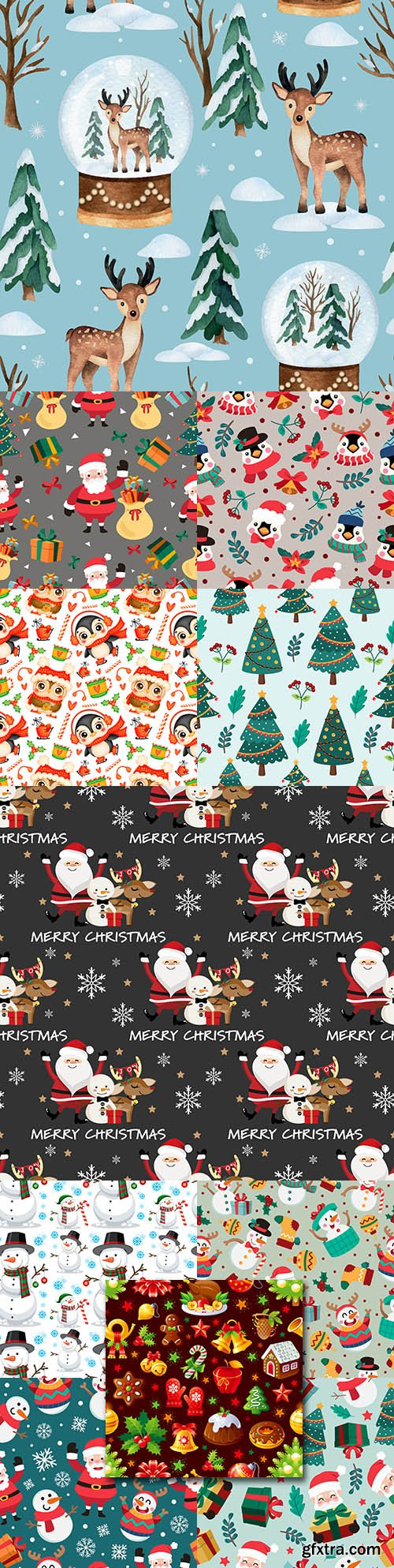 Christmas cartoon seamless patterns with Santa Claus and snowman