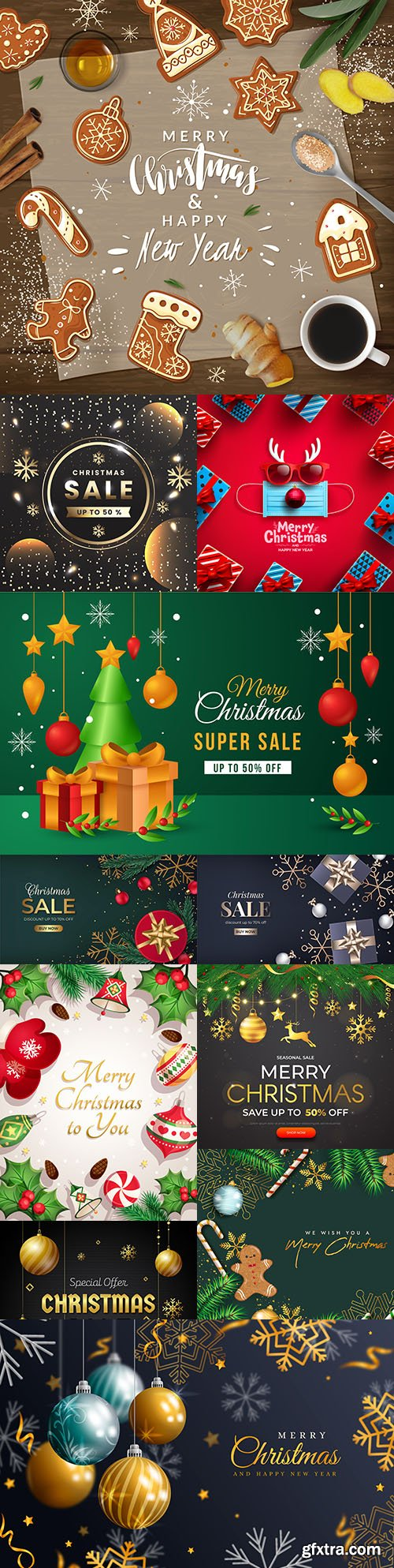 Christmas sale and New Year background realistic illustration