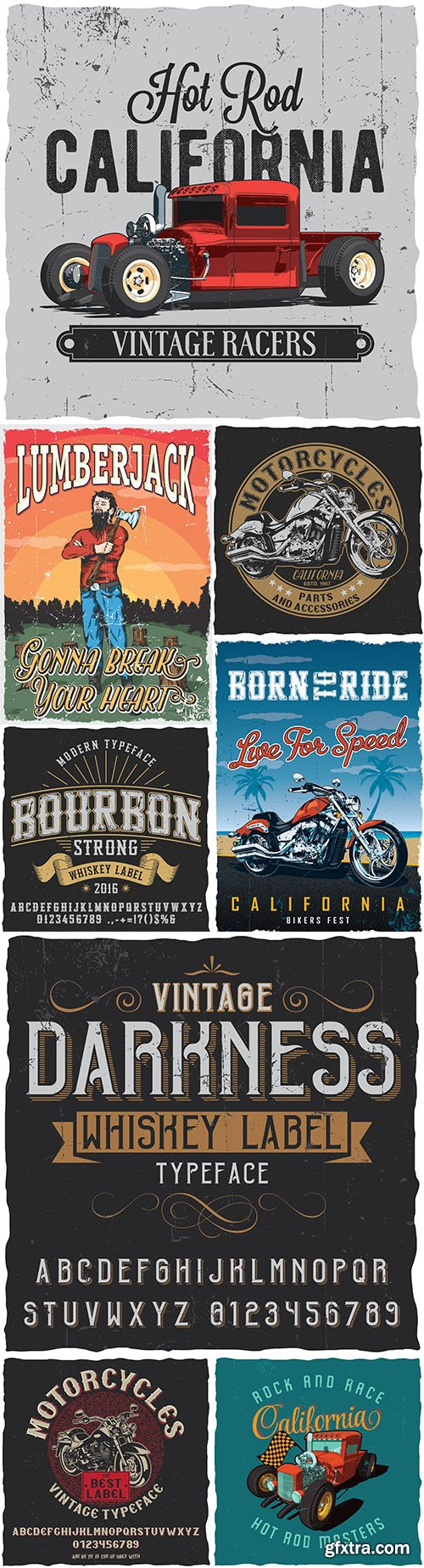 Vintage poster with details and accessories of motorcycles for T-shirts