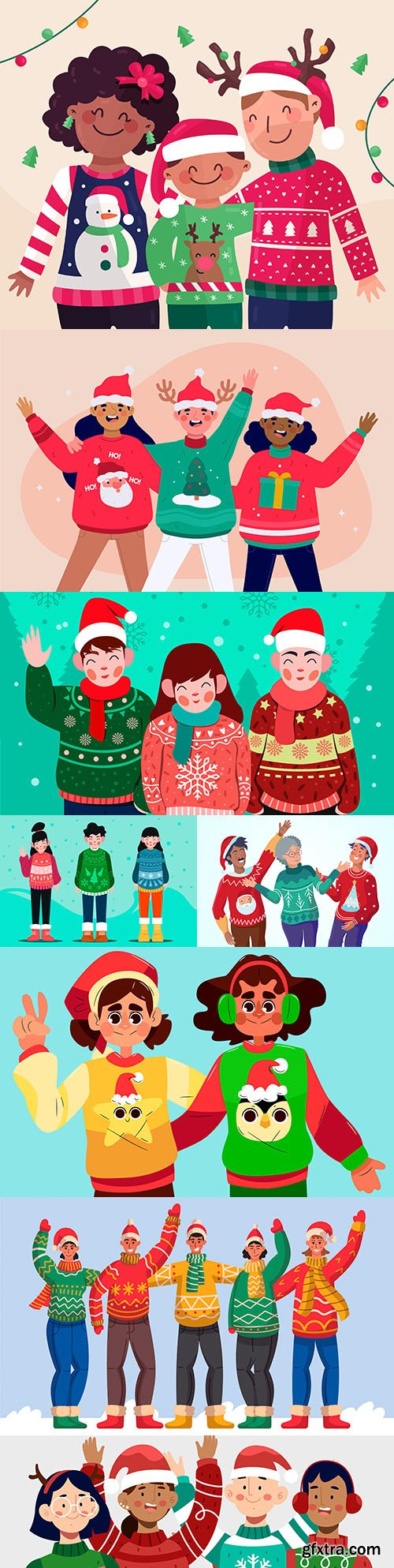 Happy people in knit sweaters with Christmas characters
