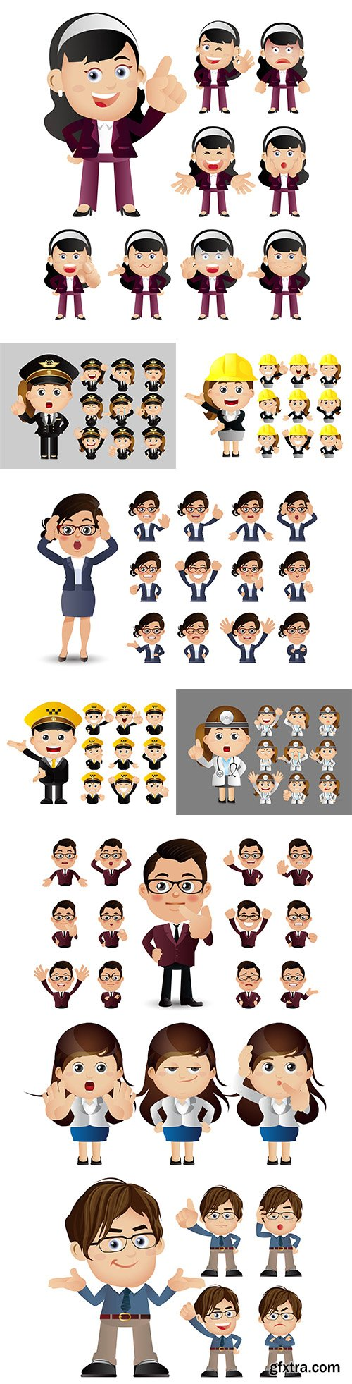Expressions of business people with different persons and professions