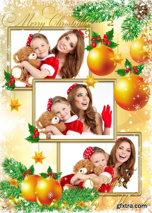 Christmas frame with golden christmas balls