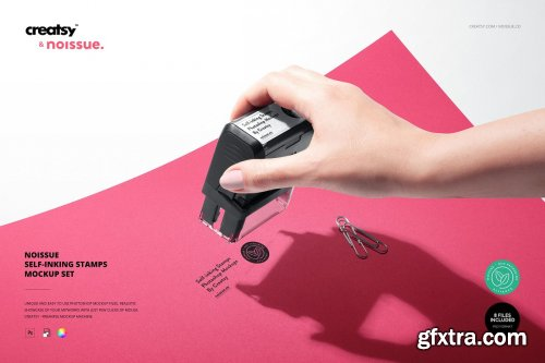 CreativeMarket - Noissue Self-inking Stamps Mockup 5370405