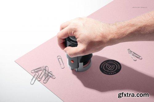 CreativeMarket - Noissue Self-inking Stamps Mockup 5370405