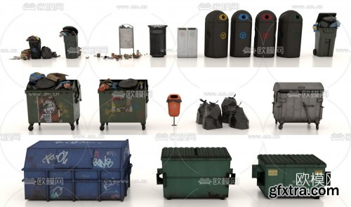 Industrial wind trash bin trash can 3d model