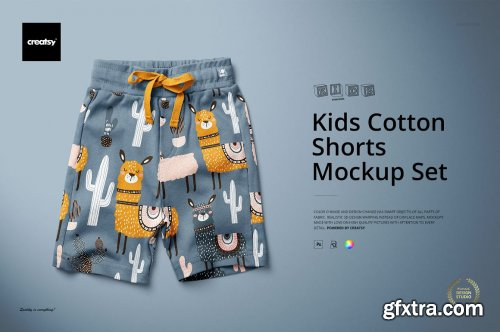 CreativeMarket - Kids Cotton Shorts Mockup Set 5498907