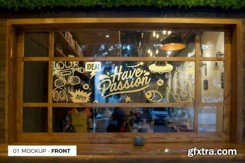 CreativeMarket - 3 Cafe Glass Sticker Decals Mockup 5499362