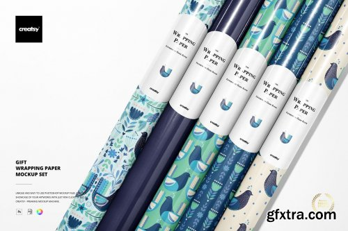 CreativeMarket - Gift Wrapping Paper Mockup Bundle 5645855
