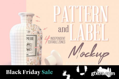 CreativeMarket - Pattern & Label Parfum Bottle Mockup 4517819