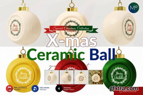 CreativeMarket - Ceramic X-mass Ball Mock-ups 5636720