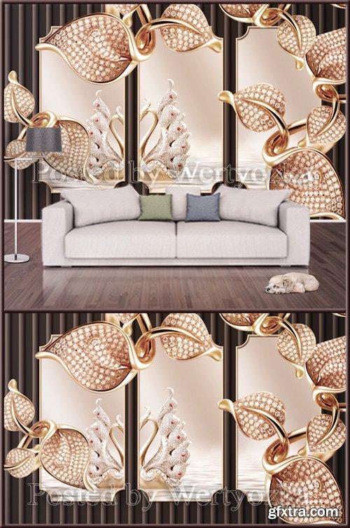 3D psd background wall golden metal mosaic swan