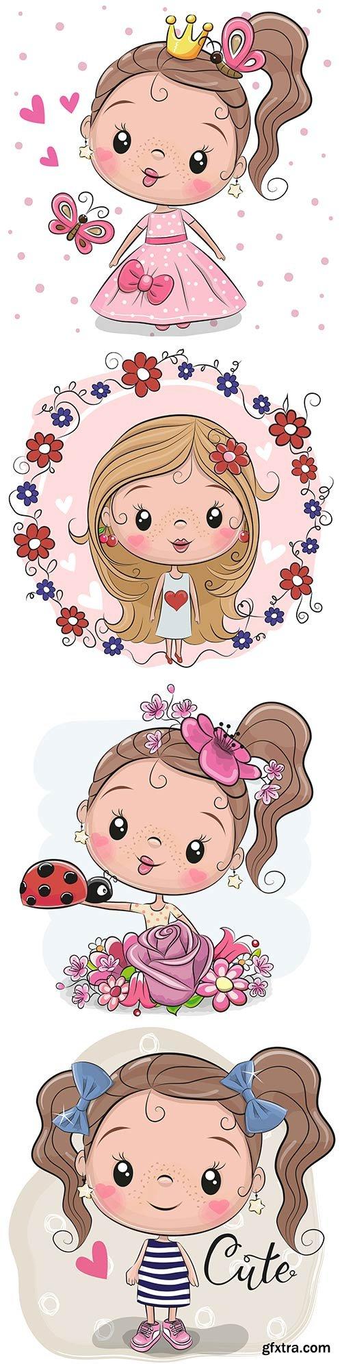 Cute girls in vector