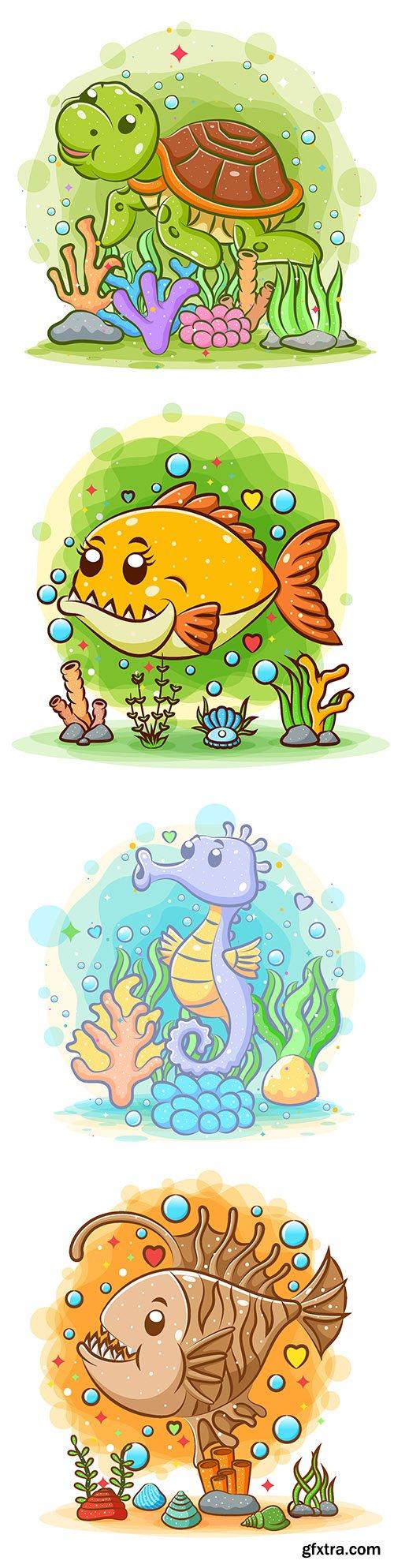 Wildlife and marine dwellers cartoon fish watercolor illustrations