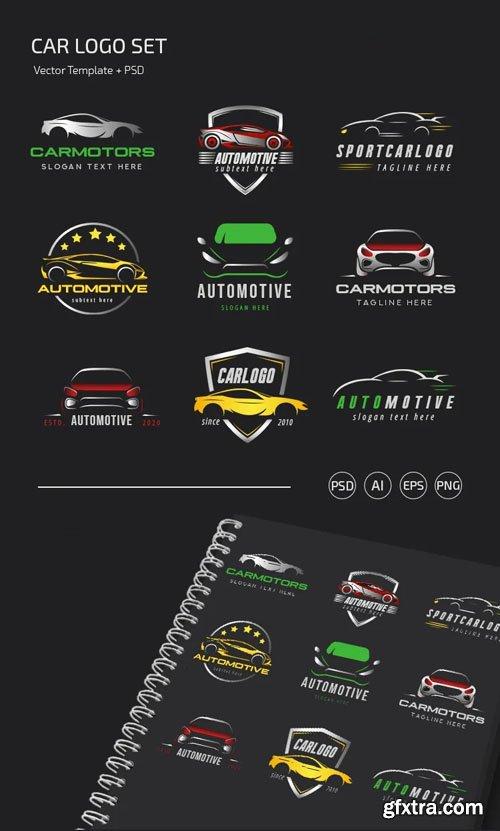 Car Logo Set Vector Templates + PSD