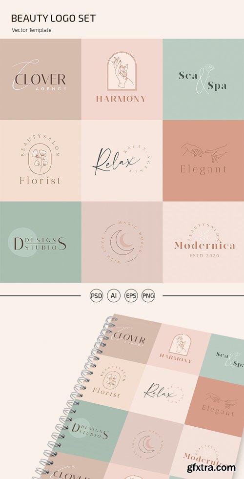 Beauty Logo Set Vector Templates + PSD