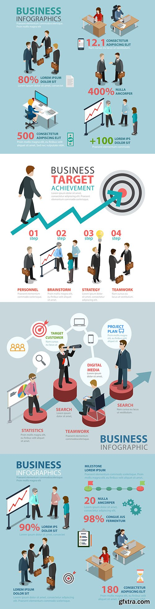 Business situation flat style thematic infographic concept