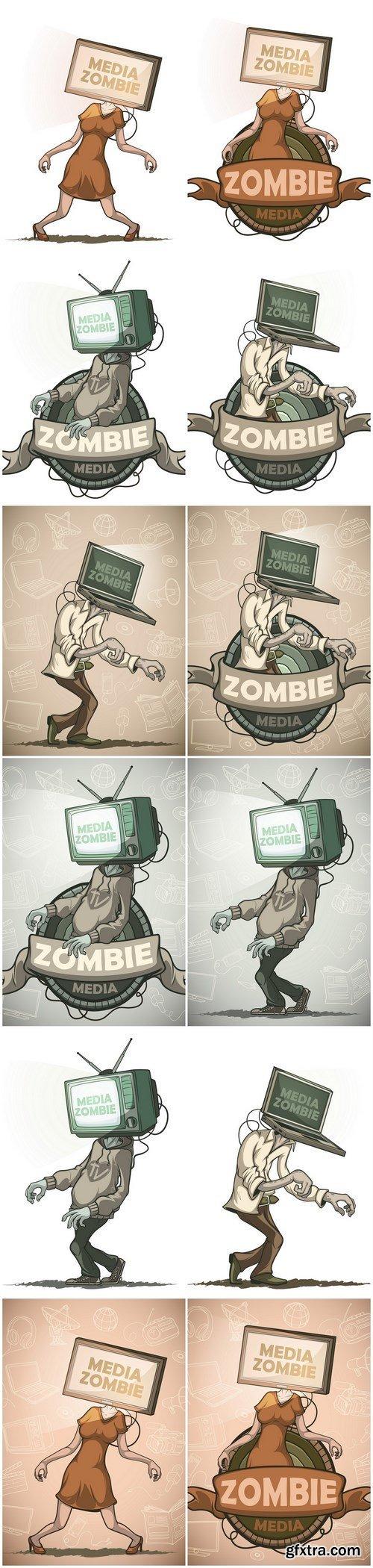 Media zombie - Set of 12xEPS, AI Professional Vector Stock