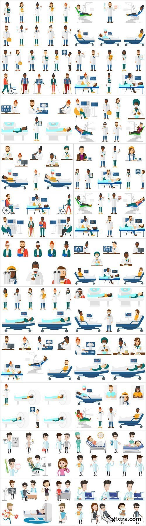 Doctor characters and patients - 24xEPS Vector Stock