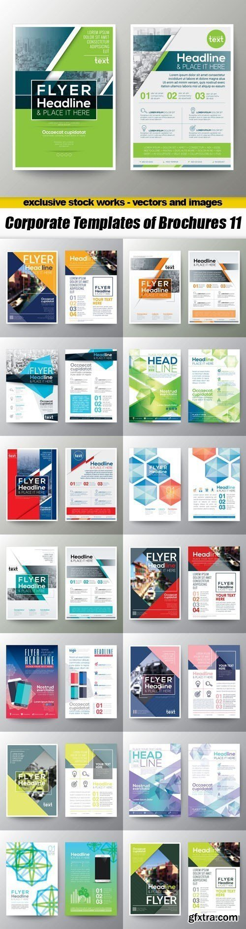 Corporate Templates of Brochures 11 - 15xEPS