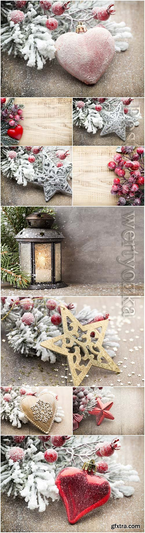 Christmas decoration with fir branches on the wood background