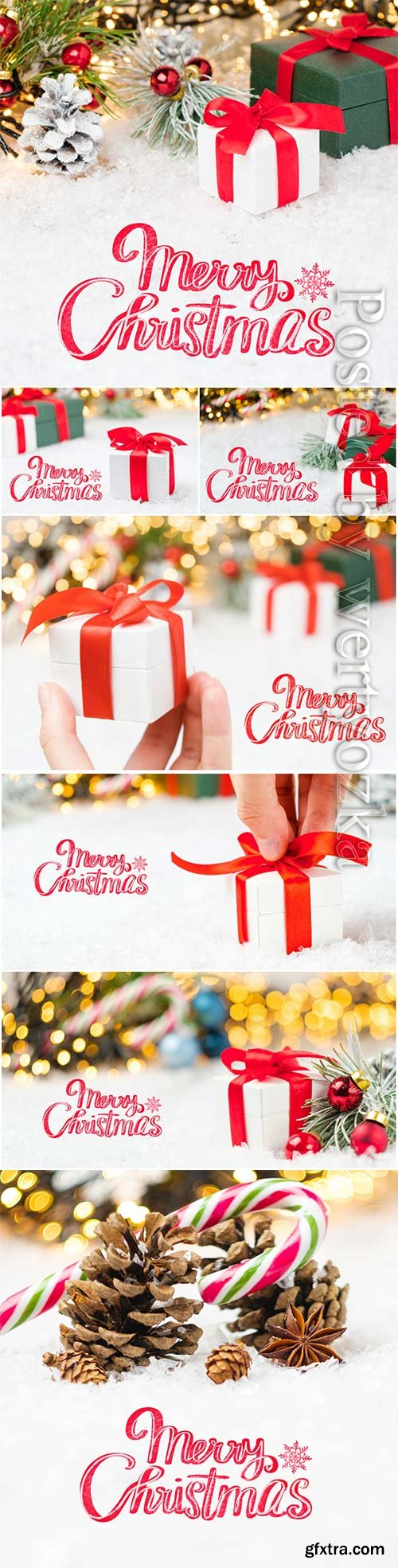 Merry christmas lettering greeting card with gift boxes