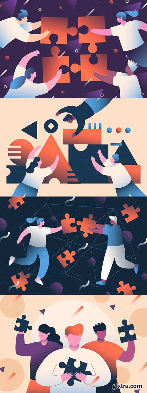 Concepts working with people who create puzzle flat design